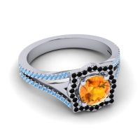 Ornate Halo Naksatra Citrine Ring with Black Onyx and Swiss Blue Topaz in Platinum