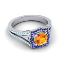 Ornate Halo Naksatra Citrine Ring with Blue Sapphire and Aquamarine in 18k White Gold