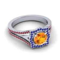 Ornate Halo Naksatra Citrine Ring with Blue Sapphire and Ruby in 18k White Gold
