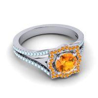 Ornate Halo Naksatra Citrine Ring with Aquamarine in Platinum