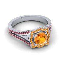 Ornate Halo Naksatra Citrine Ring with Ruby in Palladium
