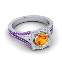 Ornate Halo Naksatra Citrine Ring with Diamond and Amethyst in Platinum