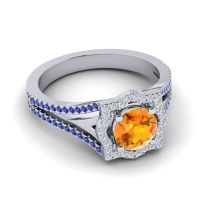 Ornate Halo Naksatra Citrine Ring with Diamond and Blue Sapphire in Palladium