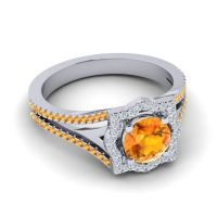 Ornate Halo Naksatra Citrine Ring with Diamond in 14k White Gold