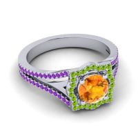 Ornate Halo Naksatra Citrine Ring with Peridot and Amethyst in 14k White Gold