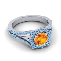 Ornate Halo Naksatra Citrine Ring with Swiss Blue Topaz in Palladium