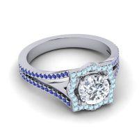 Ornate Halo Naksatra Diamond Ring with Aquamarine and Blue Sapphire in Platinum