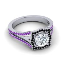 Ornate Halo Naksatra Diamond Ring with Black Onyx and Amethyst in 18k White Gold