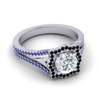 Ornate Halo Naksatra Diamond Ring with Black Onyx and Blue Sapphire in 14k White Gold