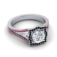 Ornate Halo Naksatra Diamond Ring with Black Onyx and Ruby in 14k White Gold