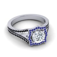 Ornate Halo Naksatra Diamond Ring with Blue Sapphire and Black Onyx in 14k White Gold