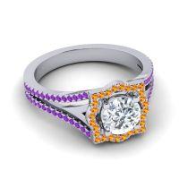 Ornate Halo Naksatra Diamond Ring with Citrine and Amethyst in Palladium