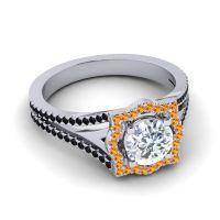 Ornate Halo Naksatra Diamond Ring with Citrine and Black Onyx in 18k White Gold
