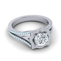 Ornate Halo Naksatra Diamond Ring with Aquamarine in 18k White Gold