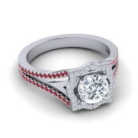 Ornate Halo Naksatra Diamond Ring with Ruby in 18k White Gold