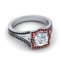 Ornate Halo Naksatra Diamond Ring with Garnet and Black Onyx in 14k White Gold