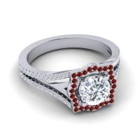 Ornate Halo Naksatra Diamond Ring with Garnet in 18k White Gold