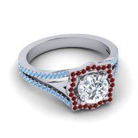 Ornate Halo Naksatra Diamond Ring with Garnet and Swiss Blue Topaz in 18k White Gold
