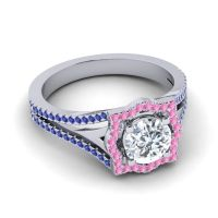 Ornate Halo Naksatra Diamond Ring with Pink Tourmaline and Blue Sapphire in Palladium