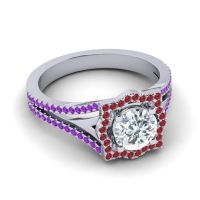 Ornate Halo Naksatra Diamond Ring with Ruby and Amethyst in Platinum