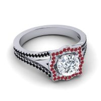 Ornate Halo Naksatra Diamond Ring with Ruby and Black Onyx in 18k White Gold