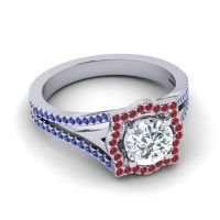 Ornate Halo Naksatra Diamond Ring with Ruby and Blue Sapphire in Platinum