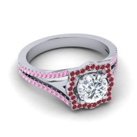 Ornate Halo Naksatra Diamond Ring with Ruby and Pink Tourmaline in 18k White Gold