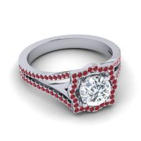 Ornate Halo Naksatra Diamond Ring with Ruby in Platinum