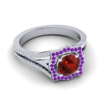 Ornate Halo Naksatra Garnet Ring with Amethyst and Diamond in 14k White Gold