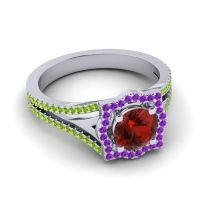 Ornate Halo Naksatra Garnet Ring with Amethyst and Peridot in 14k White Gold