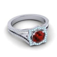 Ornate Halo Naksatra Garnet Ring with Aquamarine and Diamond in 14k White Gold