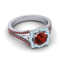 Ornate Halo Naksatra Garnet Ring with Aquamarine in 18k White Gold