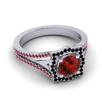 Ornate Halo Naksatra Garnet Ring with Black Onyx and Ruby in 14k White Gold