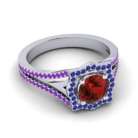 Ornate Halo Naksatra Garnet Ring with Blue Sapphire and Amethyst in Palladium