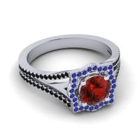 Ornate Halo Naksatra Garnet Ring with Blue Sapphire and Black Onyx in Platinum