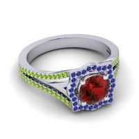 Ornate Halo Naksatra Garnet Ring with Blue Sapphire and Peridot in 18k White Gold