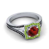Ornate Halo Naksatra Garnet Ring with Peridot and Black Onyx in 14k White Gold