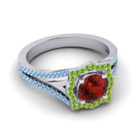 Ornate Halo Naksatra Garnet Ring with Peridot and Swiss Blue Topaz in 14k White Gold