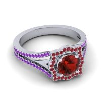 Ornate Halo Naksatra Garnet Ring with Ruby and Amethyst in 18k White Gold