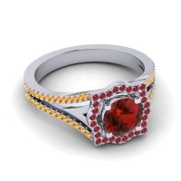Ornate Halo Naksatra Garnet Ring with Ruby and Citrine in 18k White Gold