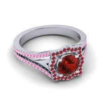 Ornate Halo Naksatra Garnet Ring with Ruby and Pink Tourmaline in Palladium