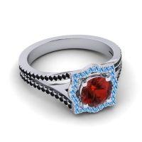 Ornate Halo Naksatra Garnet Ring with Swiss Blue Topaz and Black Onyx in Palladium