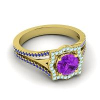 Ornate Halo Naksatra Amethyst Ring with Aquamarine and Blue Sapphire in 14k Yellow Gold