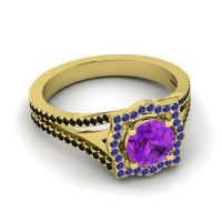 Ornate Halo Naksatra Amethyst Ring with Blue Sapphire and Black Onyx in 18k Yellow Gold