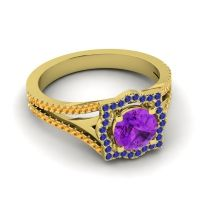 Ornate Halo Naksatra Amethyst Ring with Blue Sapphire and Citrine in 18k Yellow Gold