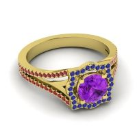 Ornate Halo Naksatra Amethyst Ring with Blue Sapphire and Ruby in 18k Yellow Gold