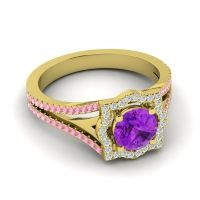 Ornate Halo Naksatra Amethyst Ring with Diamond and Pink Tourmaline in 14k Yellow Gold