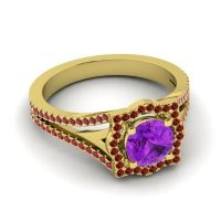 Ornate Halo Naksatra Amethyst Ring with Garnet and Ruby in 18k Yellow Gold