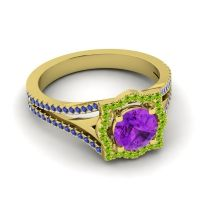 Ornate Halo Naksatra Amethyst Ring with Peridot and Blue Sapphire in 18k Yellow Gold