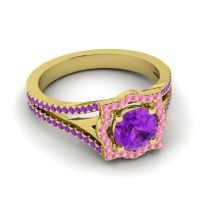 Ornate Halo Naksatra Amethyst Ring with Pink Tourmaline in 14k Yellow Gold